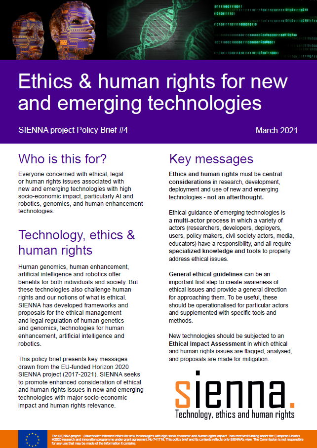 Ethics & human rights for new and emerging technologies: SIENNA project Policy Brief #4